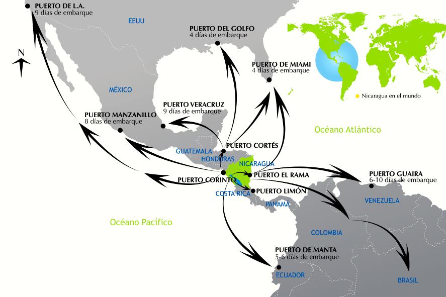 PRONicaragua, basado en información de la Empresa Portuaria Nacional (EPN), Maersk y APL Logistics, 2012