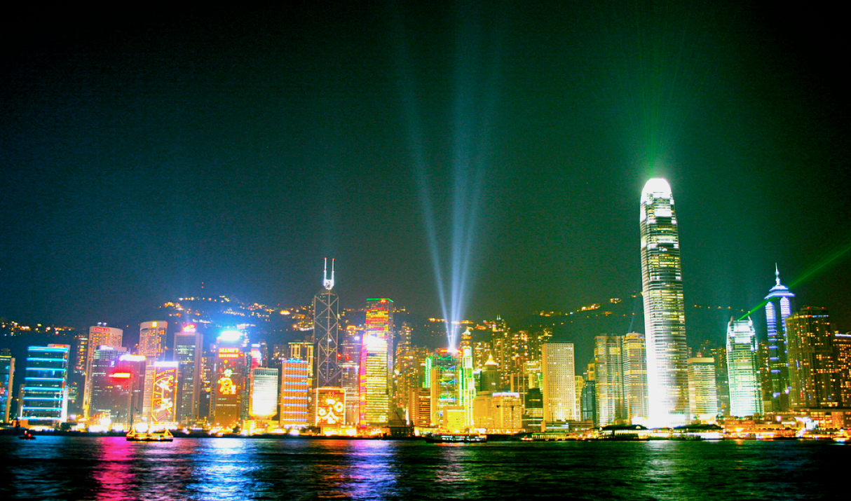 Hong Kong coast line at night